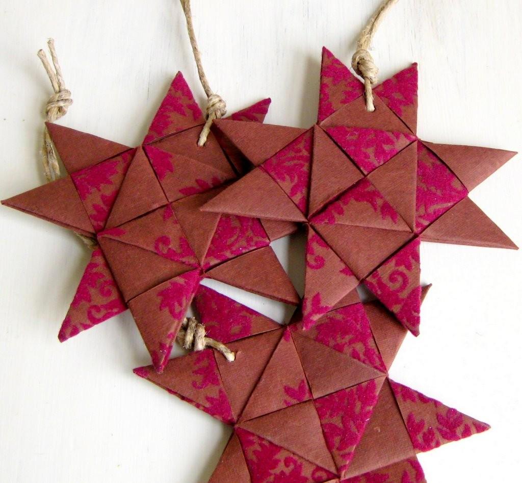 Star Danish hand folded ornament plaited red brown Birgitte