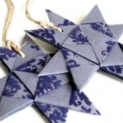 Blue Folded Origami Star