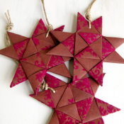 Red Brown Origami Folded Star