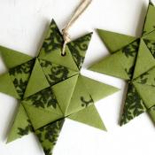 Green Origami Folded Star