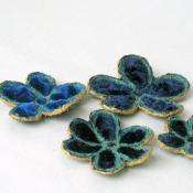 3 Velvet Flowers for embellishment